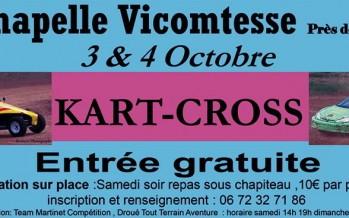 Kart Cross – Auto Poursuite sur terre les 3 et 4 octobre à La Chapelle Vicomtesse